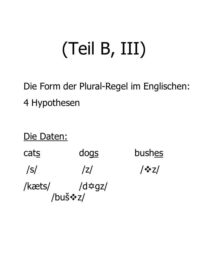(Teil B, III) Die Form der Plural-Regel im Englischen: 4 Hypothesen Die Daten: cats dogsbushes /s/ /z/ / z/ /kæts//d gz/ /buš z/