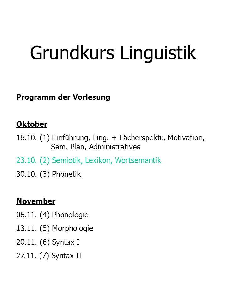 Grundkurs Linguistik Dezember 04.12.(8) Semantik 11.12.