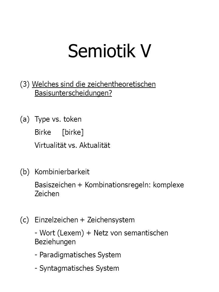 Semiotik V (3) Welches sind die zeichentheoretischen Basisunterscheidungen? (a)Type vs. token Birke [birke] Virtualität vs. Aktualität (b)Kombinierbar