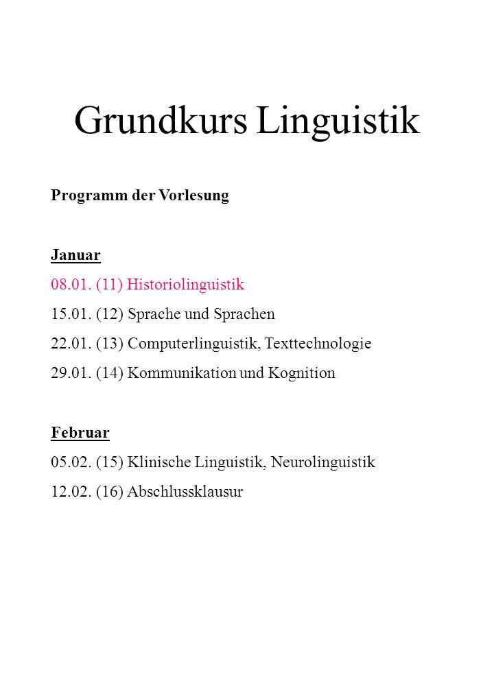 Grundkurs Linguistik Programm der Vorlesung Januar 08.01. (11) Historiolinguistik 15.01. (12) Sprache und Sprachen 22.01. (13) Computerlinguistik, Tex