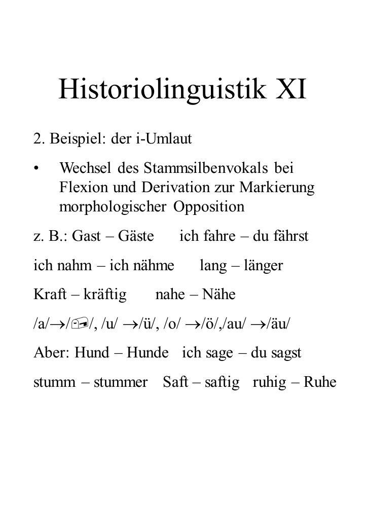 Historiolinguistik XI 2. Beispiel: der i-Umlaut Wechsel des Stammsilbenvokals bei Flexion und Derivation zur Markierung morphologischer Opposition z.