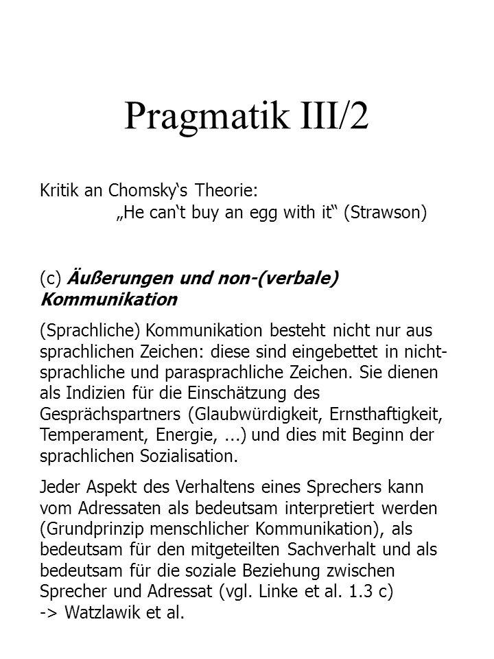 Pragmatik III/2 Kritik an Chomskys Theorie: He cant buy an egg with it (Strawson) (c) Äußerungen und non-(verbale) Kommunikation (Sprachliche) Kommuni