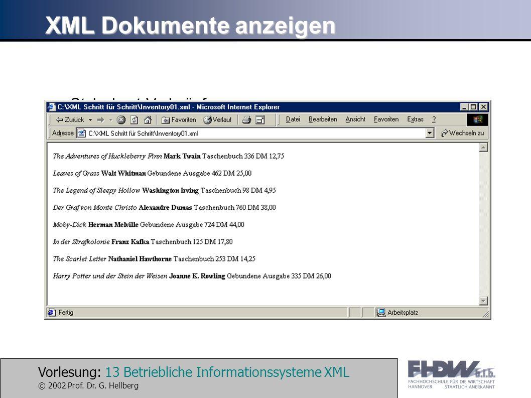Vorlesung: 13 Betriebliche Informationssysteme XML © 2002 Prof. Dr. G. Hellberg XML Dokumente anzeigen Stylesheet-Verknüpfungen /* Dateiname: Inventor