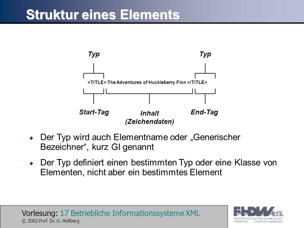 Vorlesung: 17 Betriebliche Informationssysteme XML © 2002 Prof. Dr. G. Hellberg Struktur eines Elements The Adventures of Huckleberry Finn Inhalt (Zei