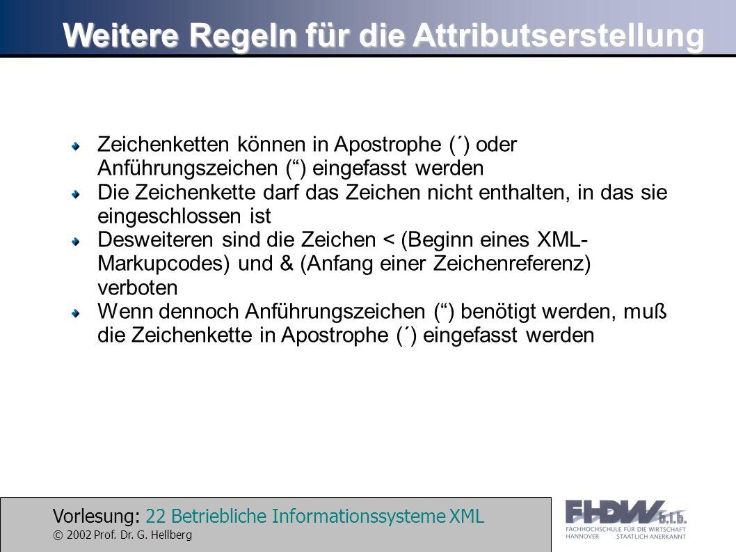 Vorlesung: 22 Betriebliche Informationssysteme XML © 2002 Prof. Dr. G. Hellberg Weitere Regeln für die Attributserstellung Zeichenketten können in Apo