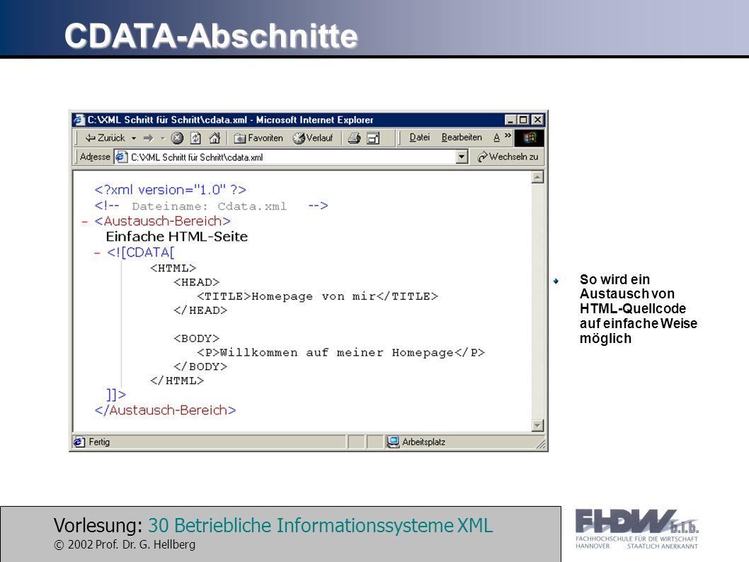 Vorlesung: 30 Betriebliche Informationssysteme XML © 2002 Prof. Dr. G. Hellberg CDATA-Abschnitte So wird ein Austausch von HTML-Quellcode auf einfache