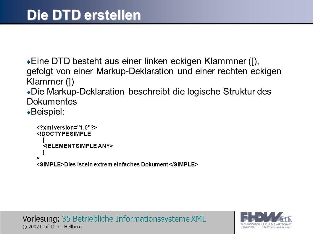 Vorlesung: 35 Betriebliche Informationssysteme XML © 2002 Prof. Dr. G. Hellberg Die DTD erstellen Eine DTD besteht aus einer linken eckigen Klammner (