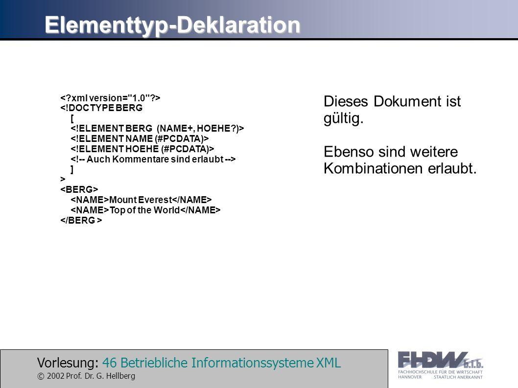 Vorlesung: 46 Betriebliche Informationssysteme XML © 2002 Prof. Dr. G. Hellberg Elementtyp-Deklaration <!DOCTYPE BERG [ ] > Mount Everest Top of the W