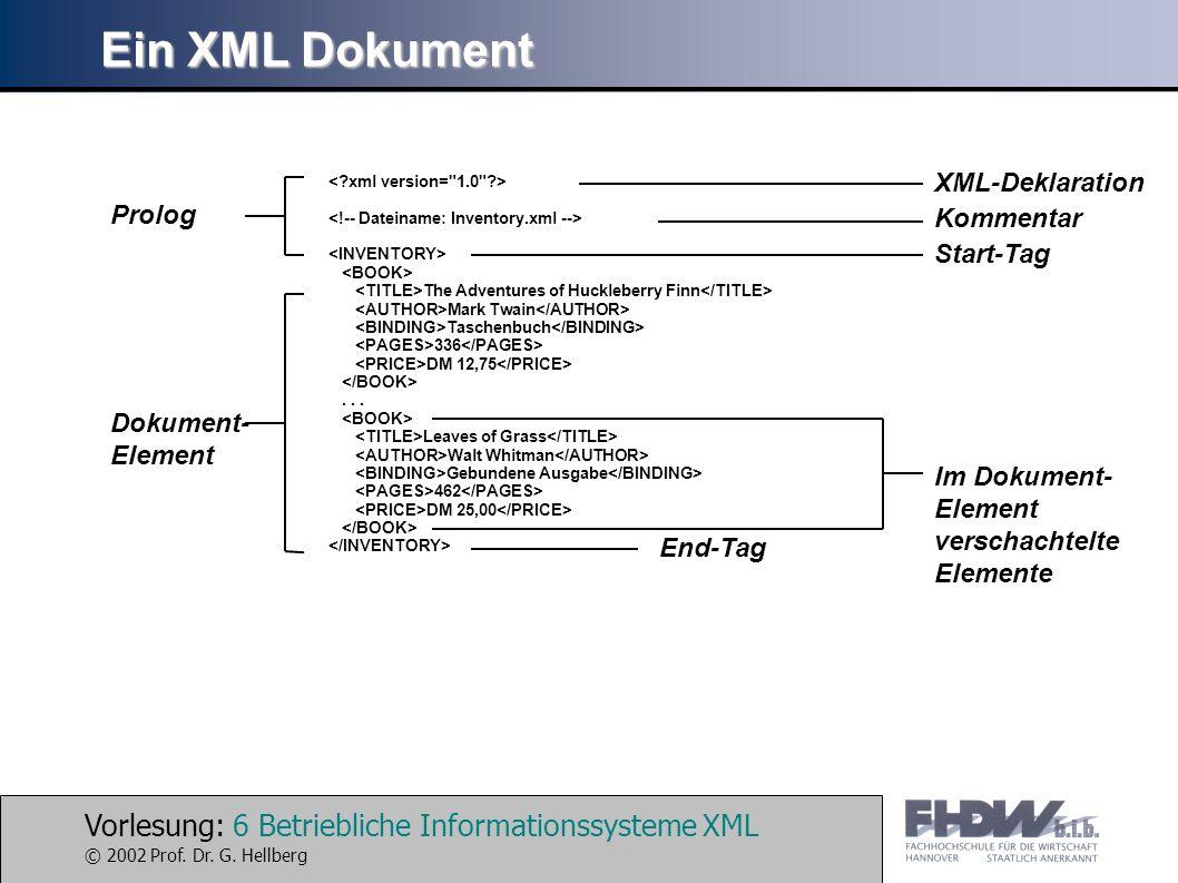 Vorlesung: 6 Betriebliche Informationssysteme XML © 2002 Prof. Dr. G. Hellberg Ein XML Dokument The Adventures of Huckleberry Finn Mark Twain Taschenb