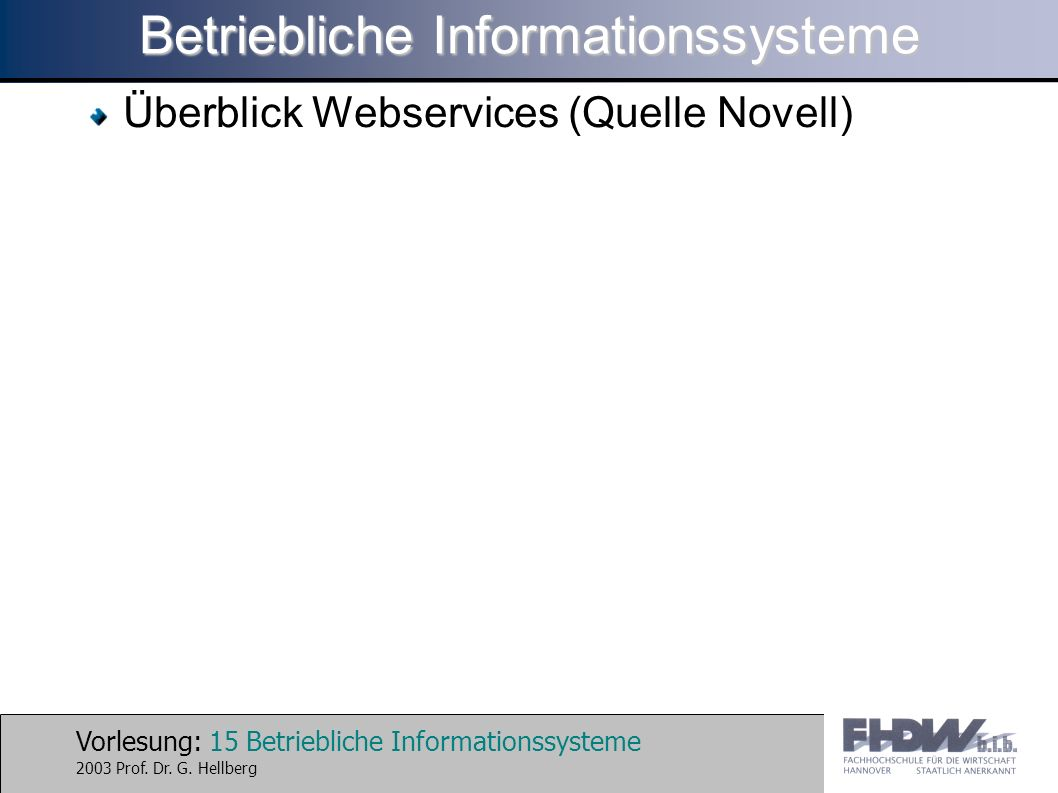 Vorlesung: 15 Betriebliche Informationssysteme 2003 Prof.