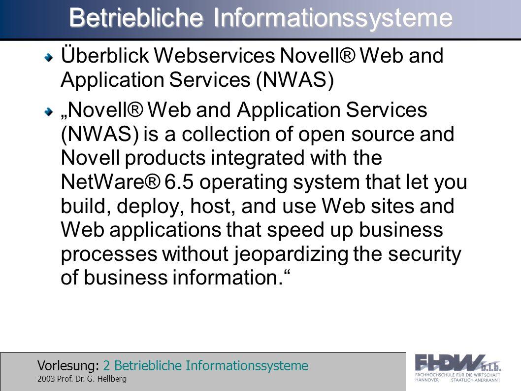 Vorlesung: 2 Betriebliche Informationssysteme 2003 Prof.
