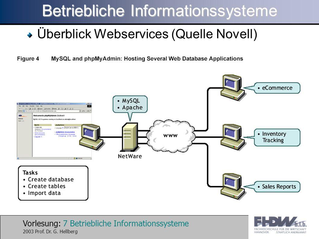 Vorlesung: 7 Betriebliche Informationssysteme 2003 Prof.