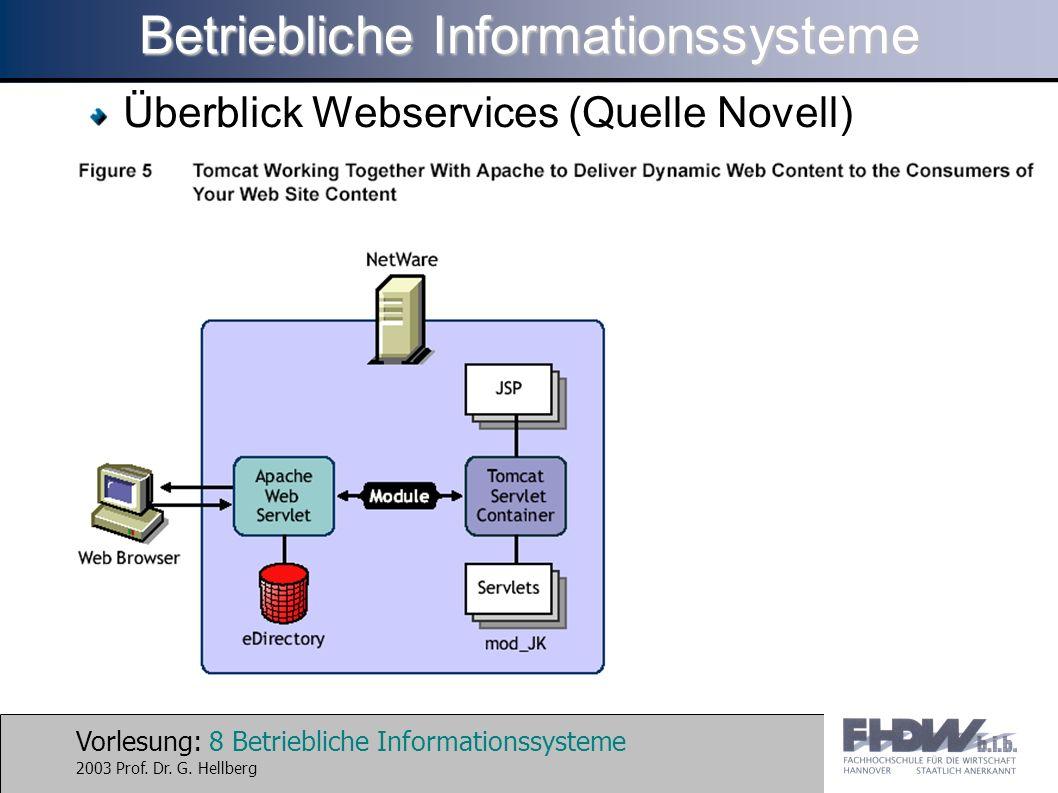 Vorlesung: 8 Betriebliche Informationssysteme 2003 Prof.