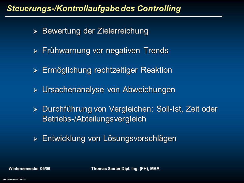 Wintersemester 05/06Thomas Sauter Dipl. Ing. (FH), MBA 100 Finance2000 3/20/99 Steuerungs-/Kontrollaufgabe des Controlling Bewertung der Zielerreichun