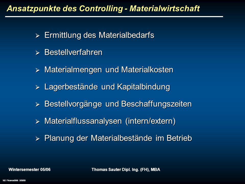 Wintersemester 05/06Thomas Sauter Dipl. Ing. (FH), MBA 102 Finance2000 3/20/99 Ansatzpunkte des Controlling - Materialwirtschaft Ermittlung des Materi