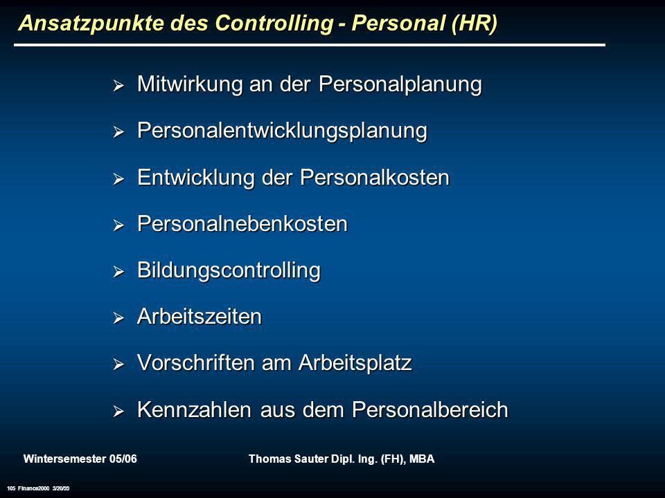 Wintersemester 05/06Thomas Sauter Dipl. Ing. (FH), MBA 105 Finance2000 3/20/99 Ansatzpunkte des Controlling - Personal (HR) Mitwirkung an der Personal