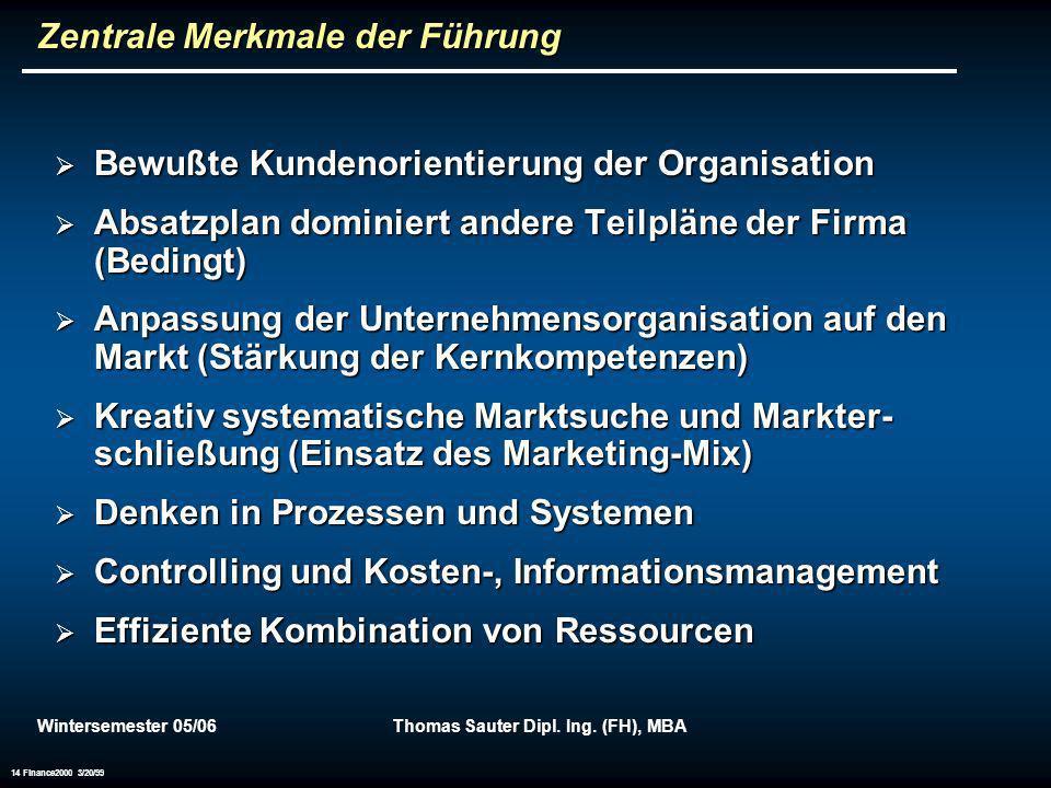 Wintersemester 05/06Thomas Sauter Dipl. Ing. (FH), MBA 14 Finance2000 3/20/99 Zentrale Merkmale der Führung Bewußte Kundenorientierung der Organisatio