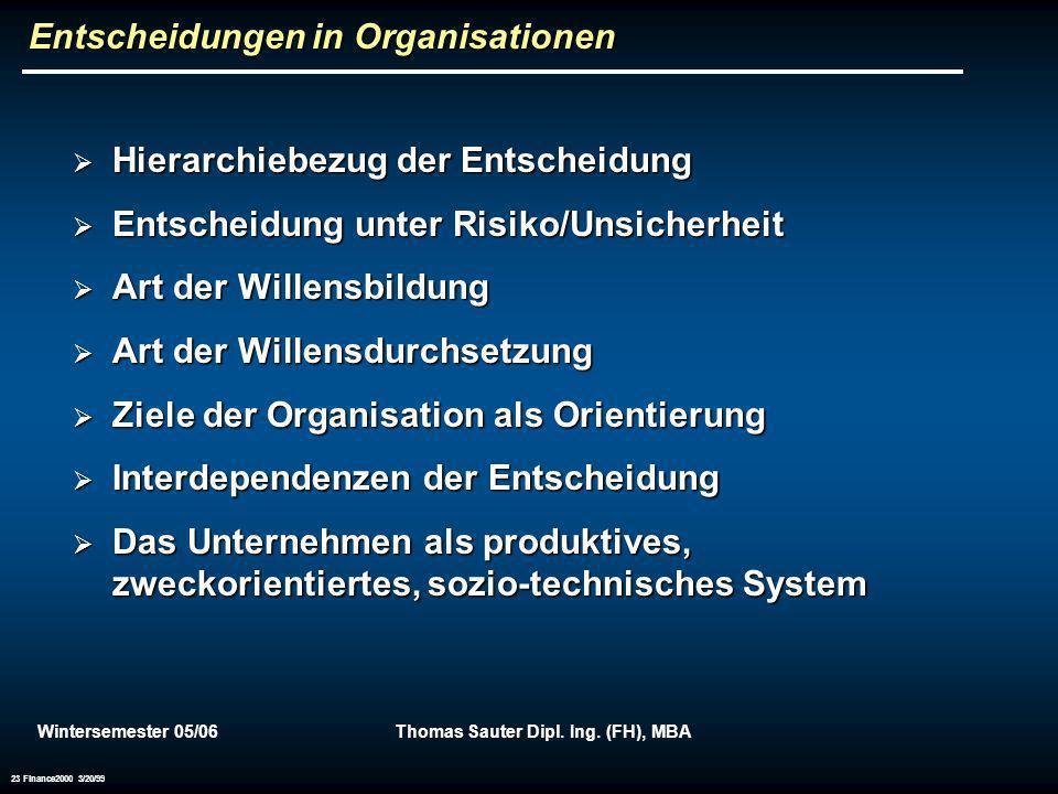 Wintersemester 05/06Thomas Sauter Dipl. Ing. (FH), MBA 23 Finance2000 3/20/99 Entscheidungen in Organisationen Hierarchiebezug der Entscheidung Hierar