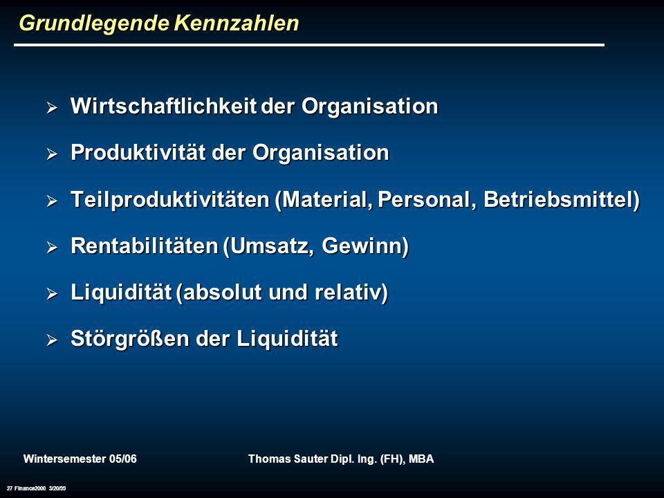 Wintersemester 05/06Thomas Sauter Dipl. Ing. (FH), MBA 27 Finance2000 3/20/99 Grundlegende Kennzahlen Wirtschaftlichkeit der Organisation Wirtschaftli