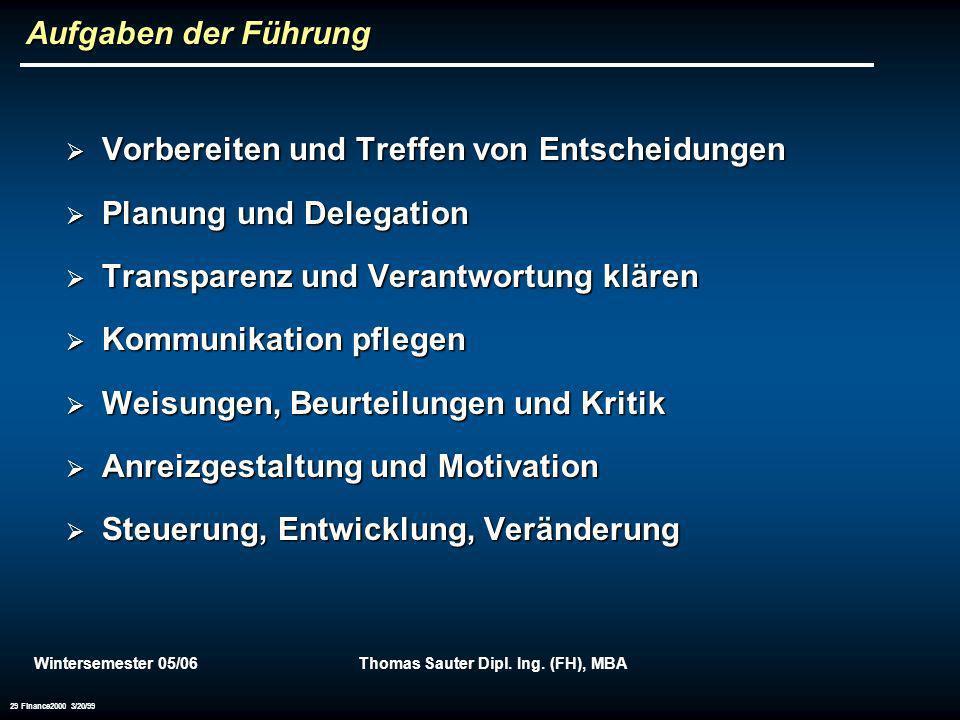 Wintersemester 05/06Thomas Sauter Dipl. Ing. (FH), MBA 29 Finance2000 3/20/99 Aufgaben der Führung Vorbereiten und Treffen von Entscheidungen Vorberei