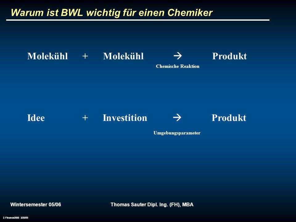 Wintersemester 05/06Thomas Sauter Dipl. Ing. (FH), MBA 3 Finance2000 3/20/99 Warum ist BWL wichtig für einen Chemiker Molekühl + Molekühl Produkt Chem
