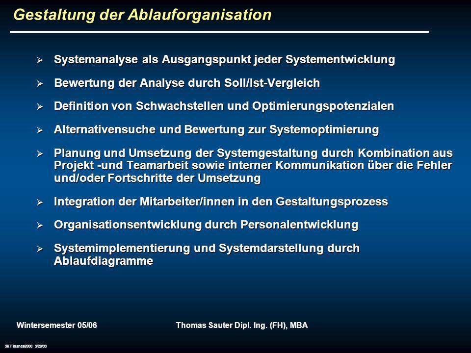 Wintersemester 05/06Thomas Sauter Dipl. Ing. (FH), MBA 36 Finance2000 3/20/99 Gestaltung der Ablauforganisation Systemanalyse als Ausgangspunkt jeder
