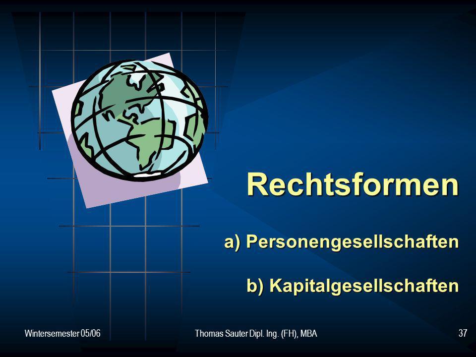 Wintersemester 05/06Thomas Sauter Dipl. Ing. (FH), MBA37 Rechtsformen a) Personengesellschaften b) Kapitalgesellschaften