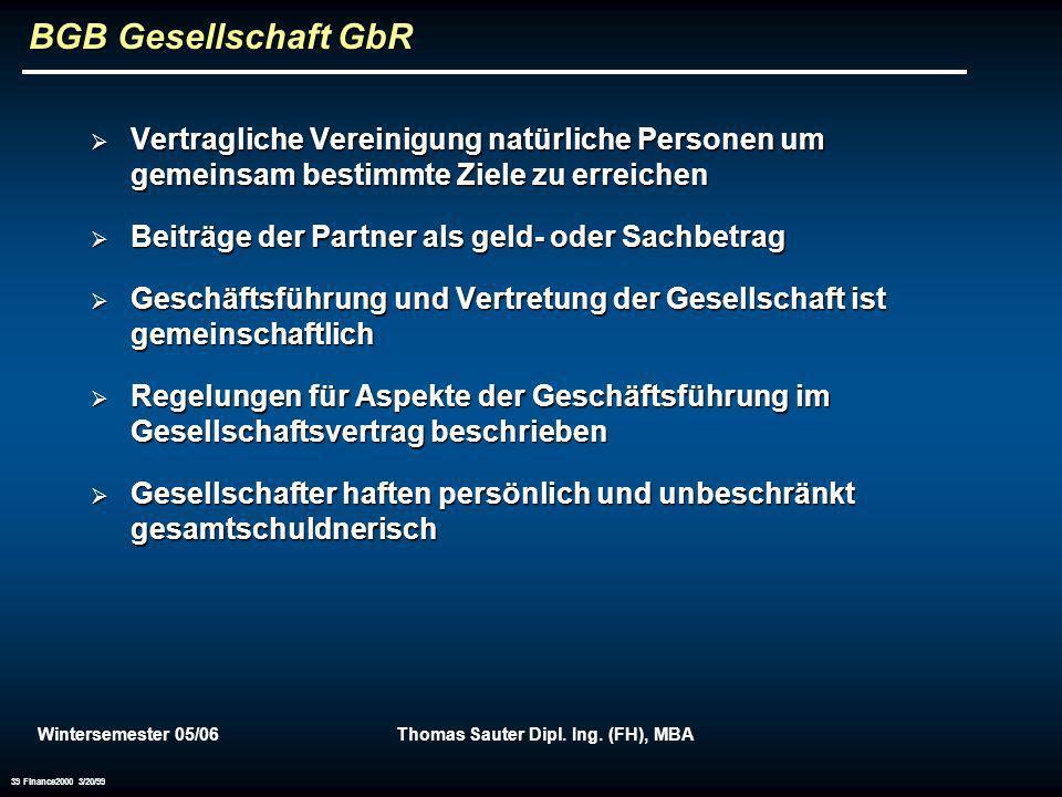Wintersemester 05/06Thomas Sauter Dipl. Ing. (FH), MBA 39 Finance2000 3/20/99 BGB Gesellschaft GbR Vertragliche Vereinigung natürliche Personen um gem