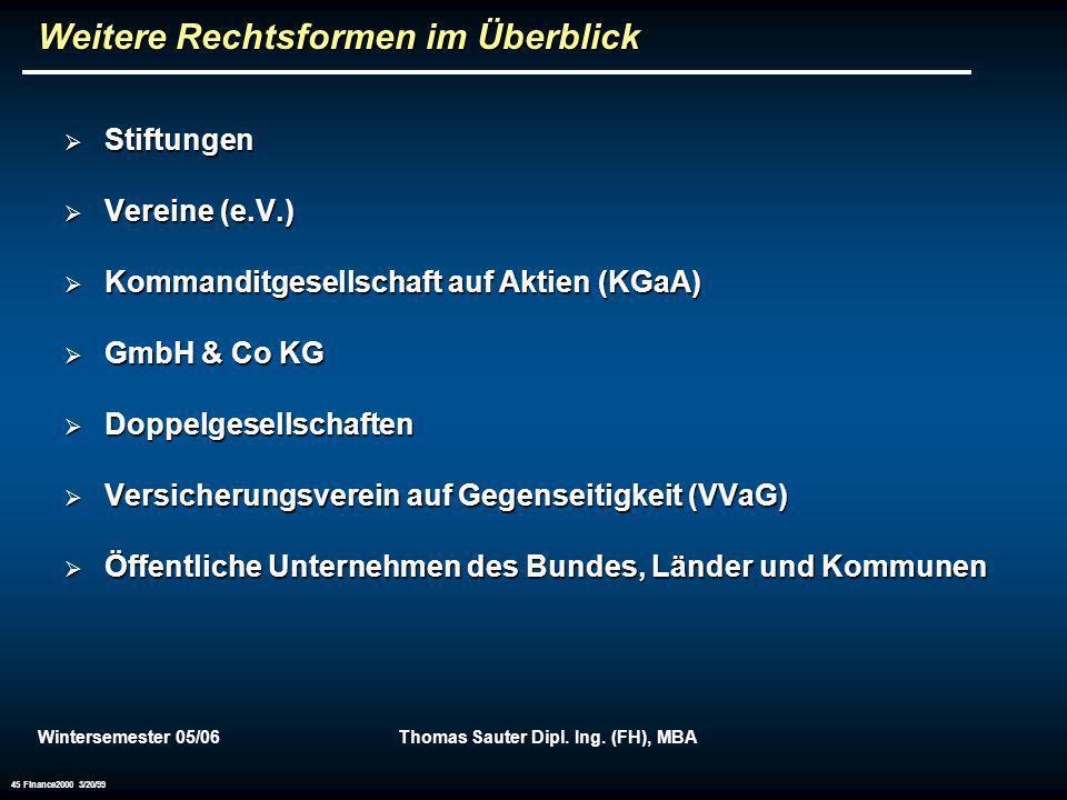 Wintersemester 05/06Thomas Sauter Dipl. Ing. (FH), MBA 45 Finance2000 3/20/99 Weitere Rechtsformen im Überblick Stiftungen Stiftungen Vereine (e.V.) V
