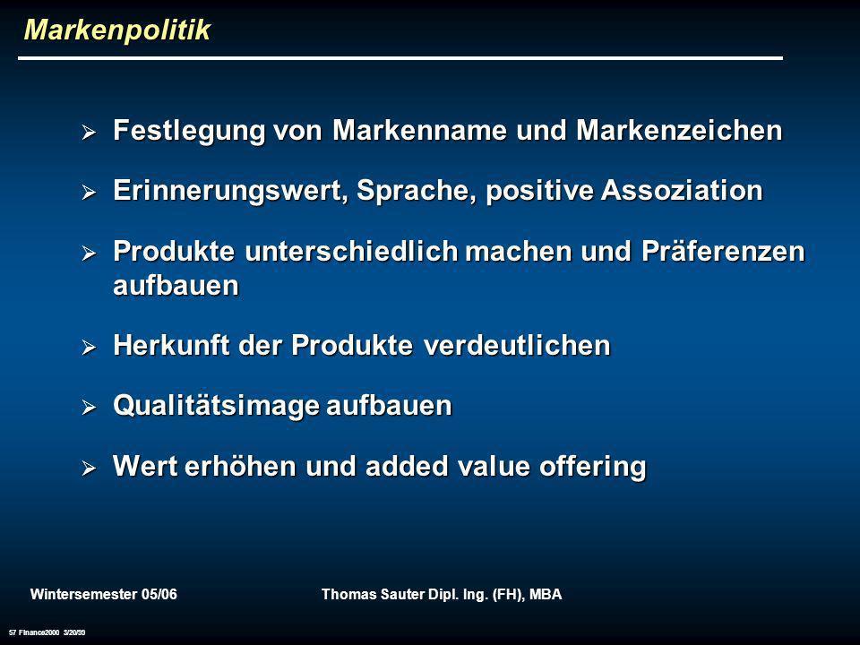 Wintersemester 05/06Thomas Sauter Dipl. Ing. (FH), MBA 57 Finance2000 3/20/99 Markenpolitik Festlegung von Markenname und Markenzeichen Festlegung von