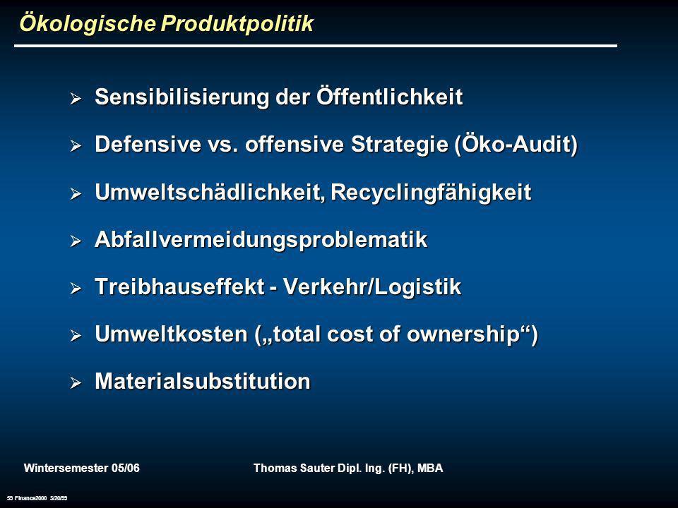 Wintersemester 05/06Thomas Sauter Dipl. Ing. (FH), MBA 59 Finance2000 3/20/99 Ökologische Produktpolitik Sensibilisierung der Öffentlichkeit Sensibili