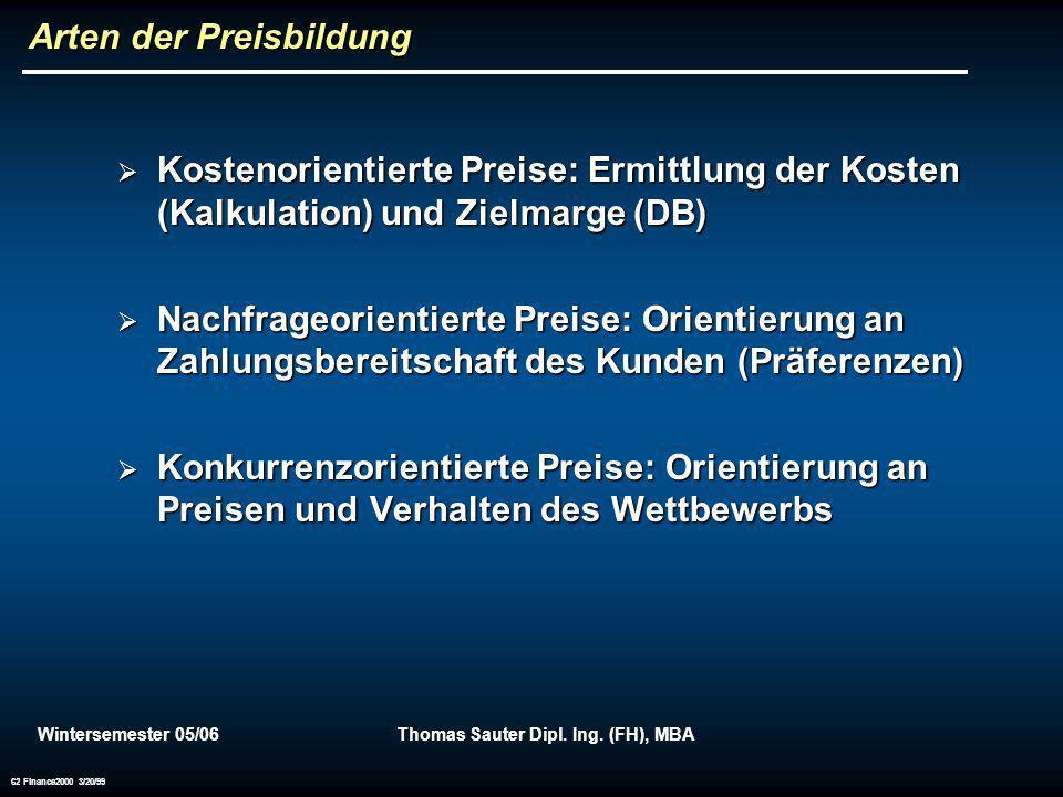 Wintersemester 05/06Thomas Sauter Dipl. Ing. (FH), MBA 62 Finance2000 3/20/99 Arten der Preisbildung Kostenorientierte Preise: Ermittlung der Kosten (