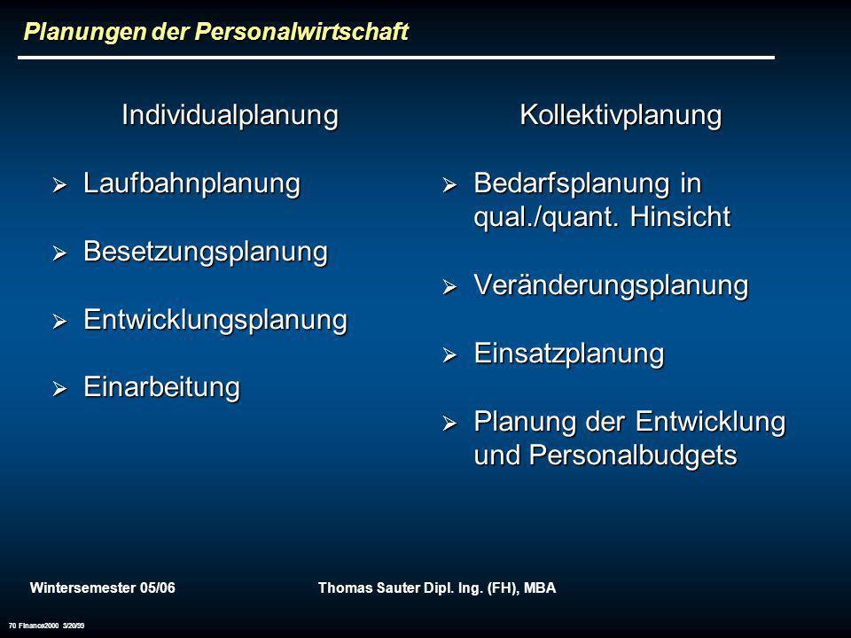 Wintersemester 05/06Thomas Sauter Dipl. Ing. (FH), MBA 70 Finance2000 3/20/99 Planungen der Personalwirtschaft Individualplanung Laufbahnplanung Laufb
