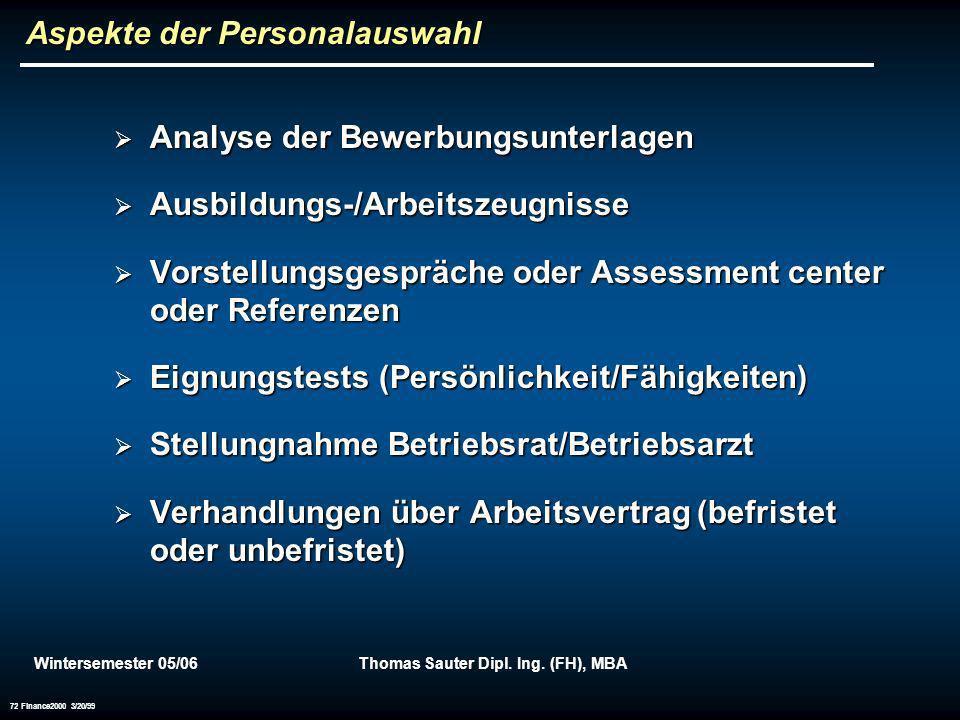 Wintersemester 05/06Thomas Sauter Dipl. Ing. (FH), MBA 72 Finance2000 3/20/99 Aspekte der Personalauswahl Analyse der Bewerbungsunterlagen Analyse der