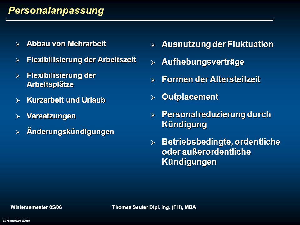 Wintersemester 05/06Thomas Sauter Dipl. Ing. (FH), MBA 78 Finance2000 3/20/99 Personalanpassung Abbau von Mehrarbeit Abbau von Mehrarbeit Flexibilisie