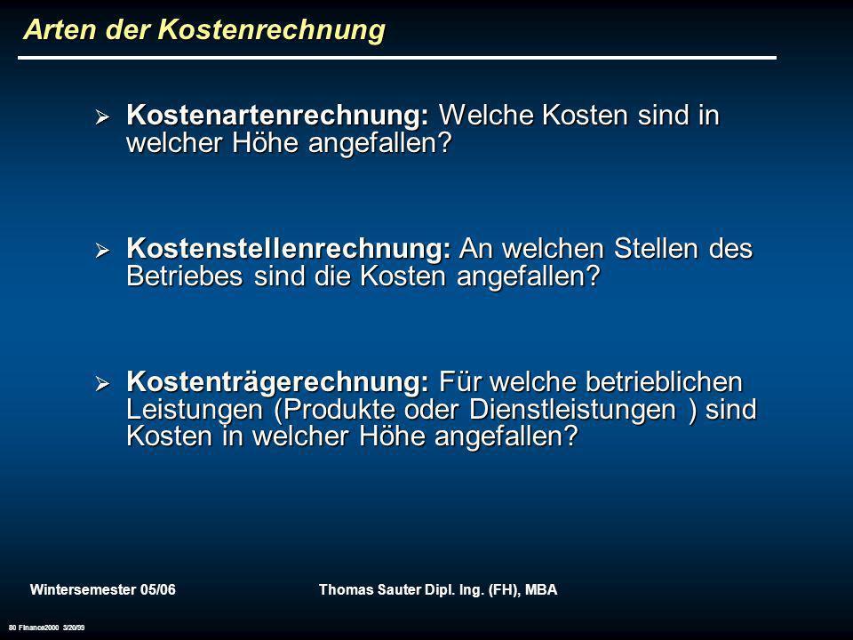 Wintersemester 05/06Thomas Sauter Dipl. Ing. (FH), MBA 80 Finance2000 3/20/99 Arten der Kostenrechnung Kostenartenrechnung: Welche Kosten sind in welc