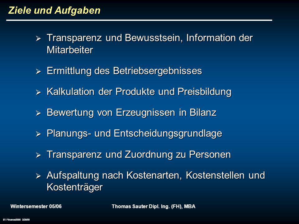 Wintersemester 05/06Thomas Sauter Dipl. Ing. (FH), MBA 81 Finance2000 3/20/99 Ziele und Aufgaben Transparenz und Bewusstsein, Information der Mitarbei
