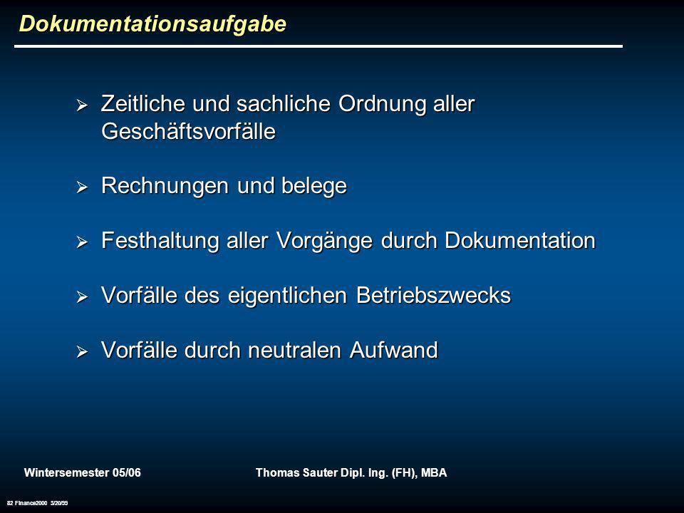 Wintersemester 05/06Thomas Sauter Dipl. Ing. (FH), MBA 82 Finance2000 3/20/99 Dokumentationsaufgabe Zeitliche und sachliche Ordnung aller Geschäftsvor