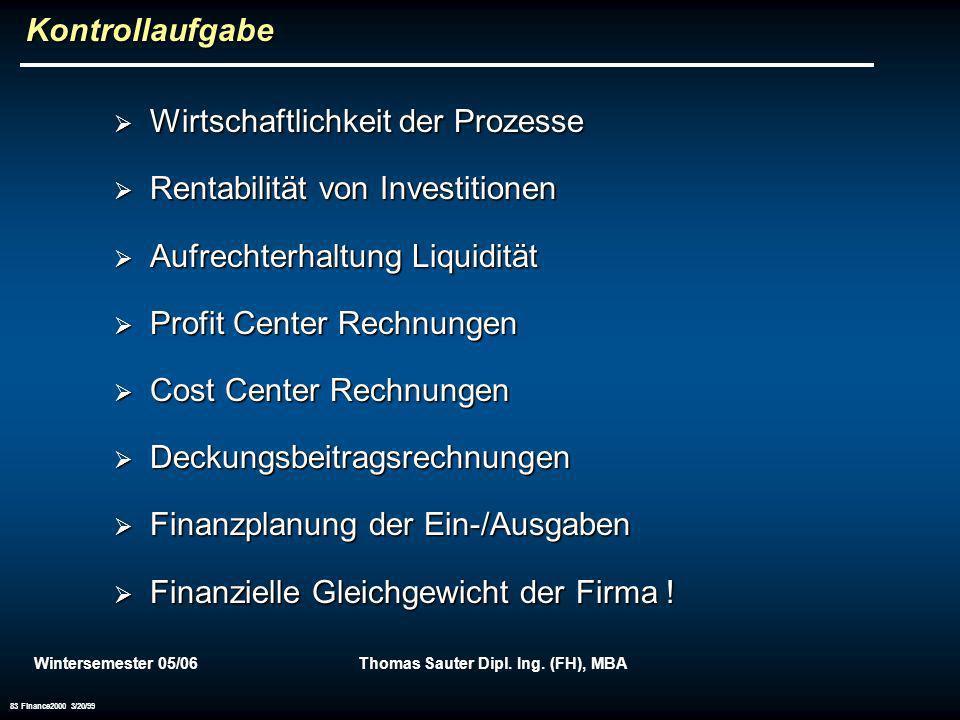 Wintersemester 05/06Thomas Sauter Dipl. Ing. (FH), MBA 83 Finance2000 3/20/99 Kontrollaufgabe Wirtschaftlichkeit der Prozesse Wirtschaftlichkeit der P