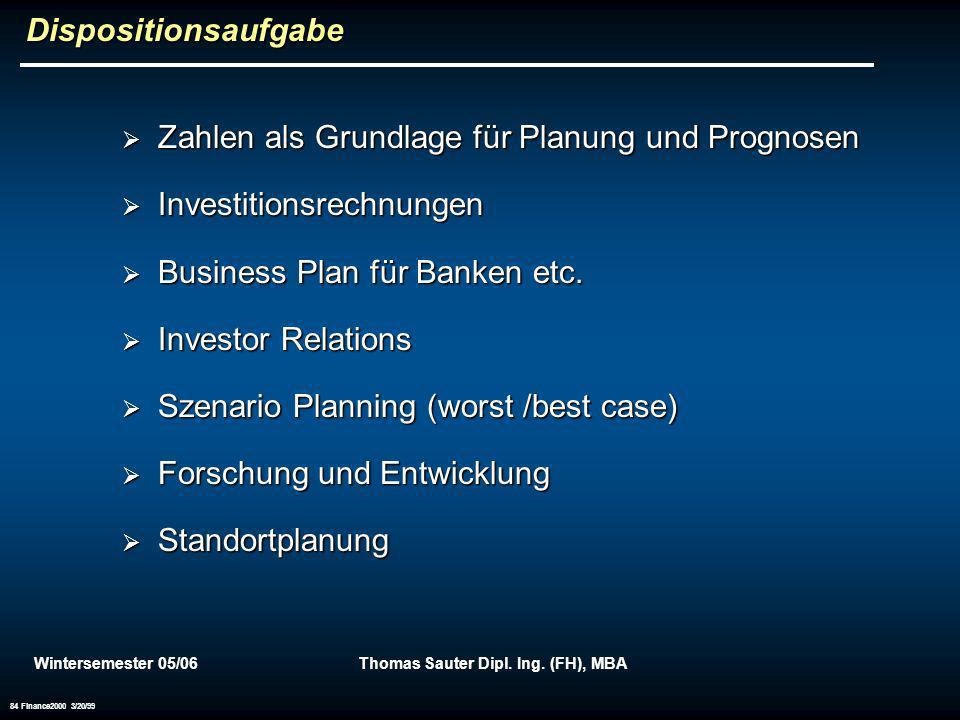 Wintersemester 05/06Thomas Sauter Dipl. Ing. (FH), MBA 84 Finance2000 3/20/99 Dispositionsaufgabe Zahlen als Grundlage für Planung und Prognosen Zahle