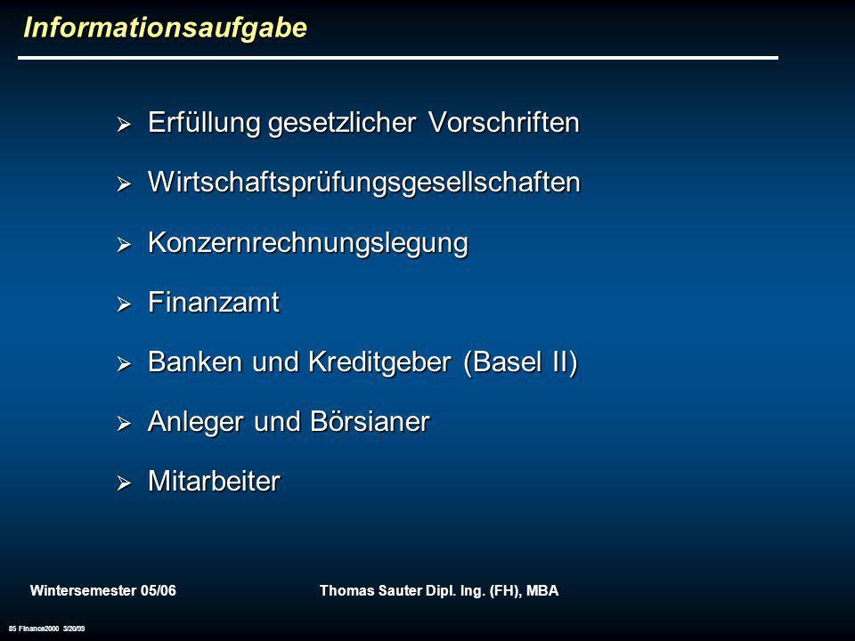 Wintersemester 05/06Thomas Sauter Dipl. Ing. (FH), MBA 85 Finance2000 3/20/99 Informationsaufgabe Erfüllung gesetzlicher Vorschriften Erfüllung gesetz