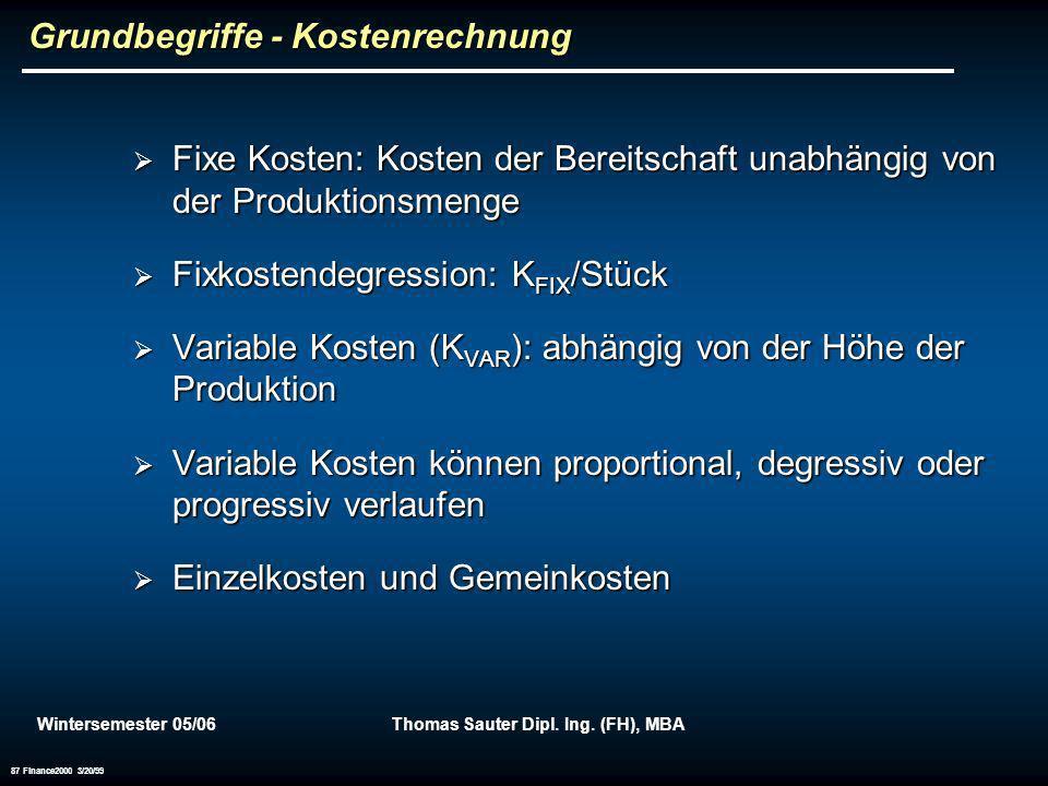 Wintersemester 05/06Thomas Sauter Dipl. Ing. (FH), MBA 87 Finance2000 3/20/99 Grundbegriffe - Kostenrechnung Fixe Kosten: Kosten der Bereitschaft unab
