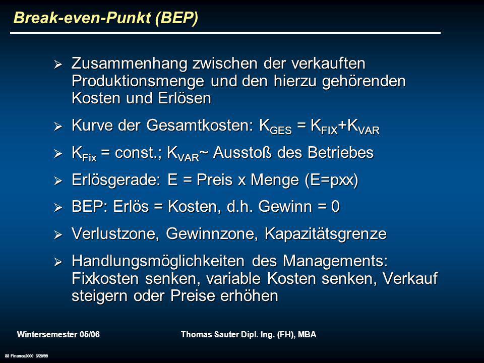 Wintersemester 05/06Thomas Sauter Dipl. Ing. (FH), MBA 88 Finance2000 3/20/99 Break-even-Punkt (BEP) Zusammenhang zwischen der verkauften Produktionsm
