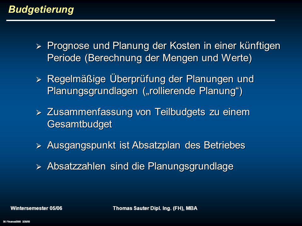 Wintersemester 05/06Thomas Sauter Dipl. Ing. (FH), MBA 90 Finance2000 3/20/99 Budgetierung Prognose und Planung der Kosten in einer künftigen Periode
