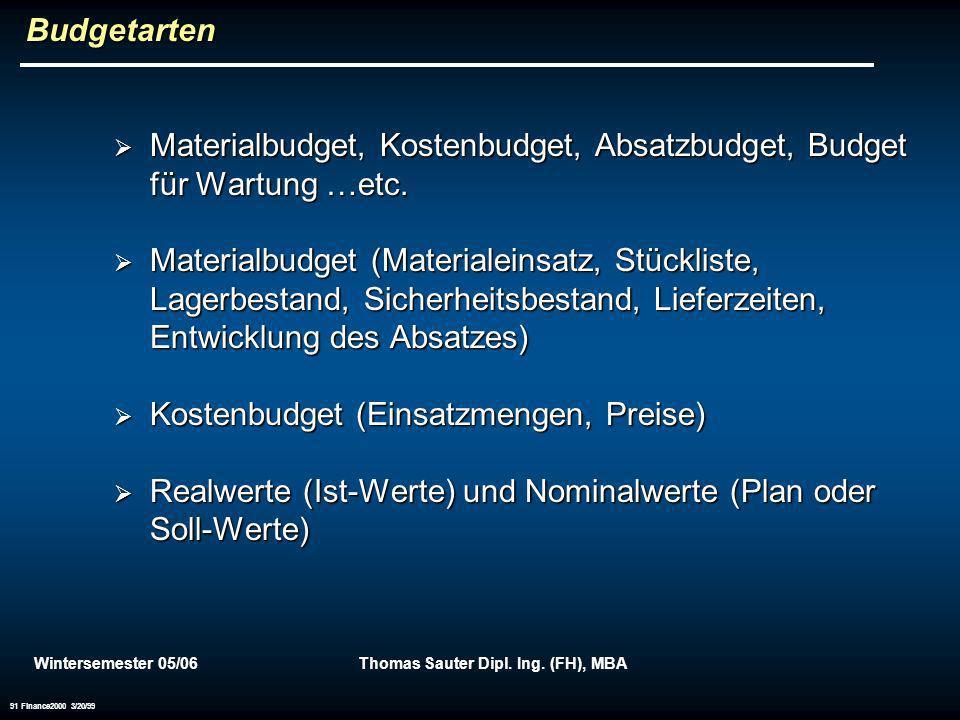 Wintersemester 05/06Thomas Sauter Dipl. Ing. (FH), MBA 91 Finance2000 3/20/99 Budgetarten Materialbudget, Kostenbudget, Absatzbudget, Budget für Wartu