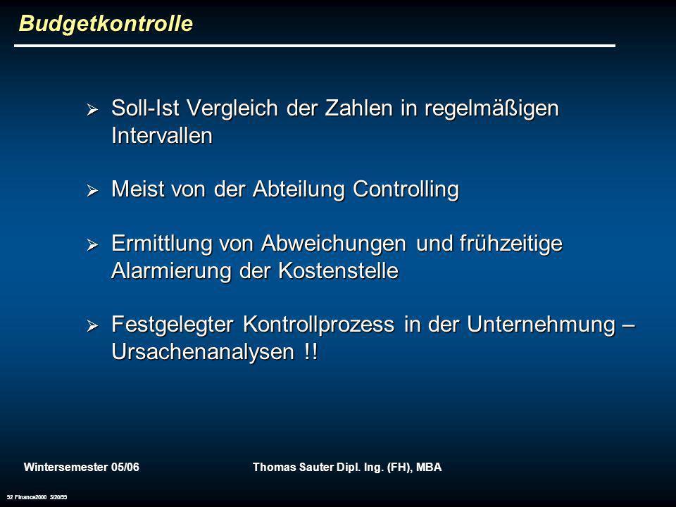 Wintersemester 05/06Thomas Sauter Dipl. Ing. (FH), MBA 92 Finance2000 3/20/99 Budgetkontrolle Soll-Ist Vergleich der Zahlen in regelmäßigen Intervalle