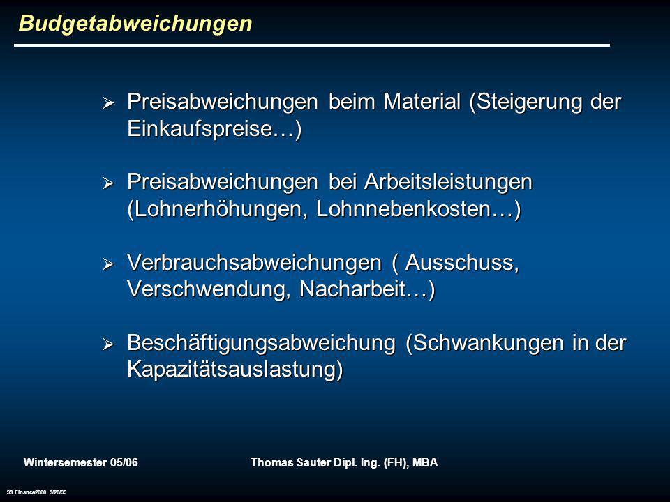 Wintersemester 05/06Thomas Sauter Dipl. Ing. (FH), MBA 93 Finance2000 3/20/99 Budgetabweichungen Preisabweichungen beim Material (Steigerung der Einka