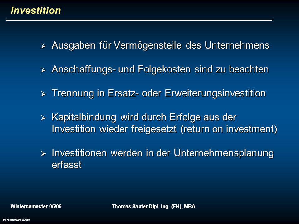 Wintersemester 05/06Thomas Sauter Dipl. Ing. (FH), MBA 95 Finance2000 3/20/99 Investition Ausgaben für Vermögensteile des Unternehmens Ausgaben für Ve
