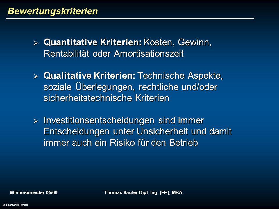 Wintersemester 05/06Thomas Sauter Dipl. Ing. (FH), MBA 96 Finance2000 3/20/99 Bewertungskriterien Quantitative Kriterien: Kosten, Gewinn, Rentabilität