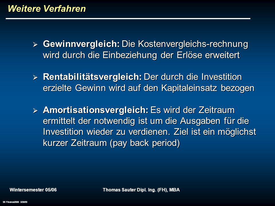 Wintersemester 05/06Thomas Sauter Dipl. Ing. (FH), MBA 98 Finance2000 3/20/99 Weitere Verfahren Gewinnvergleich: Die Kostenvergleichs-rechnung wird du
